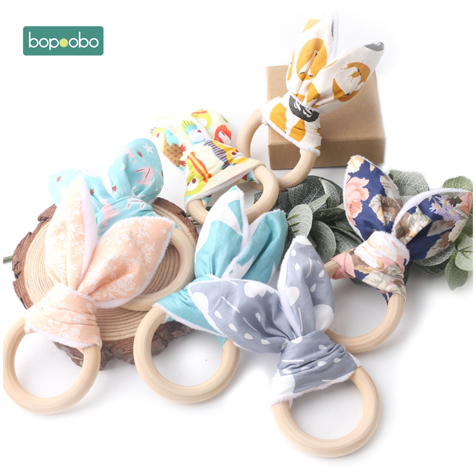 Bopoobo Baby Organic Bunny Ear Bracelets 56mm Ring Newborn Toy Eco-Friendly Montessori Toy Wooden Teether Bracelets Baby Teether