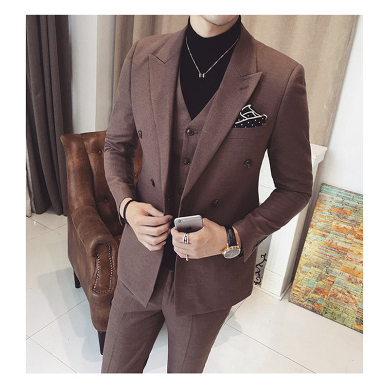 2017 Costume Homme Latest Design Men Suits Slim Fit Terno Masculino Bespoke Peaked Lapel Plus Size Tuxedos Men Suits for Wedding