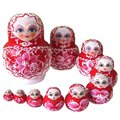 ABWE 10PCS Wooden Russian Nesting Dolls Braid Girl Traditional Matryoshka Dolls red