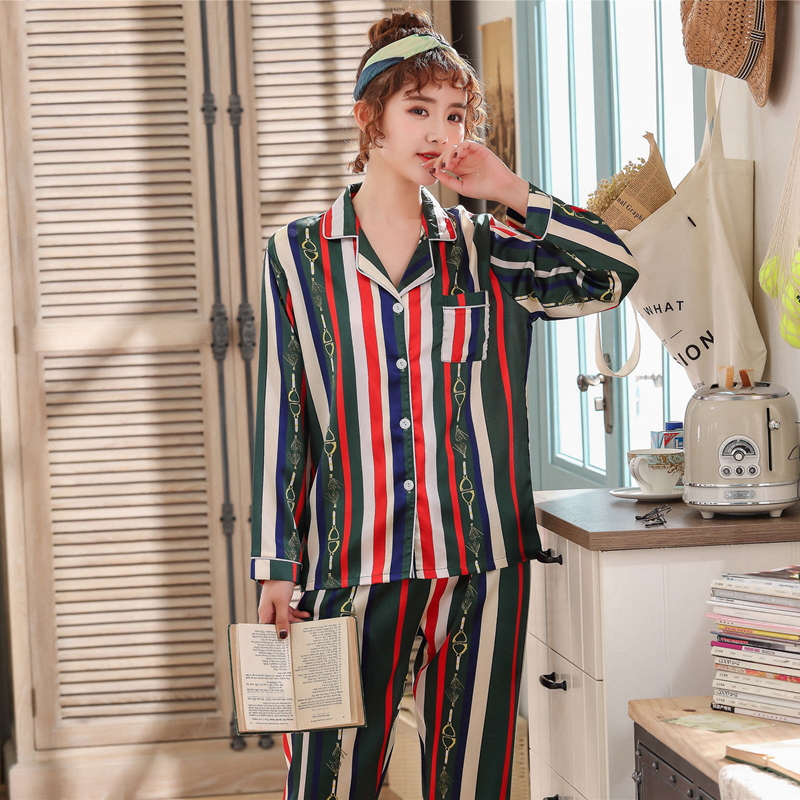 JULY'S SONG 2 Pieces   Pajamas     Set   Striped Printed Faux Silk Women Sleepwear   Pajama   Satin Long Sleeves Spring Summer Homewear