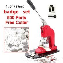 "Goedkope koop 37mm (1.5 "") tin badge set knop making machine badge druk maker met 500 stuks pin knop"