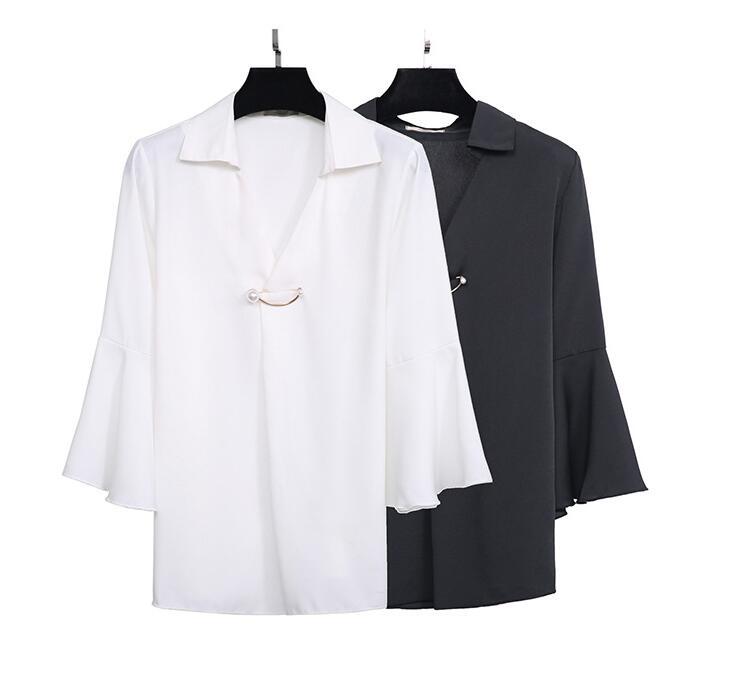 ~ Couleur Femmes Dame Soie Printemps Plus La V Blouse Manches Automne Solide White Cou Taille 4xl Flare black Xl Casual De Tb027 Chemise Mousseline Ol IFRwqFnr
