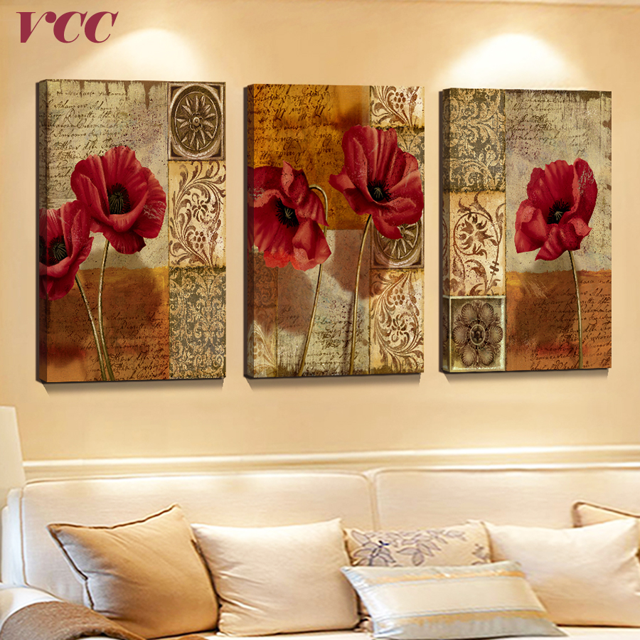 Aliexpress.com : Buy 3 Piece Canvas Art Flowers,Paintings On The ...