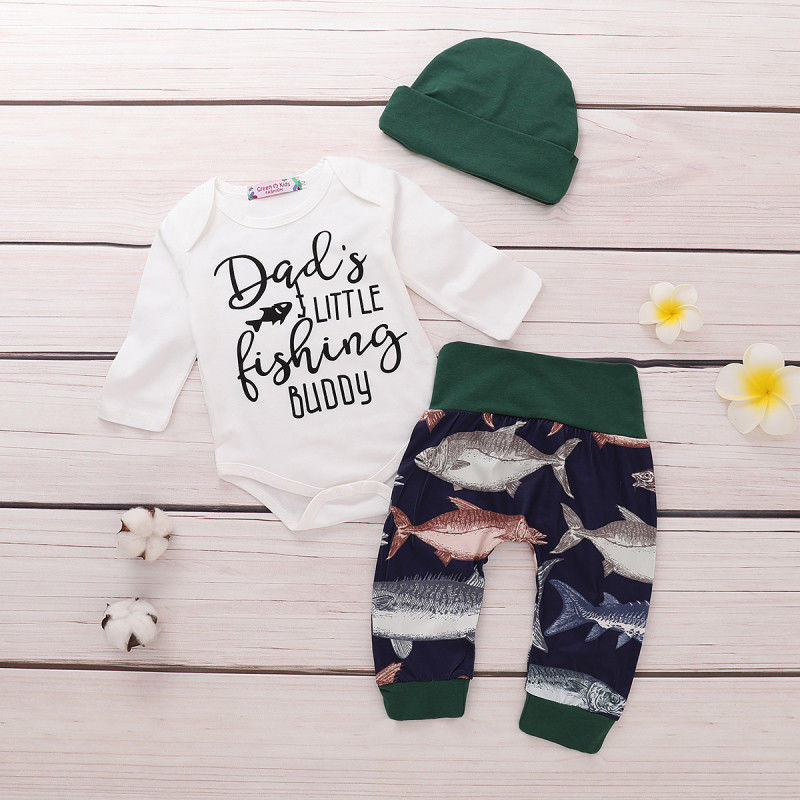 0-24M Newborn Kids Baby Boy Infant Clothing Fish Cotton Romper Dad Daddy Tops And Pants Leggings Hat Outfits Set Roupa Menina