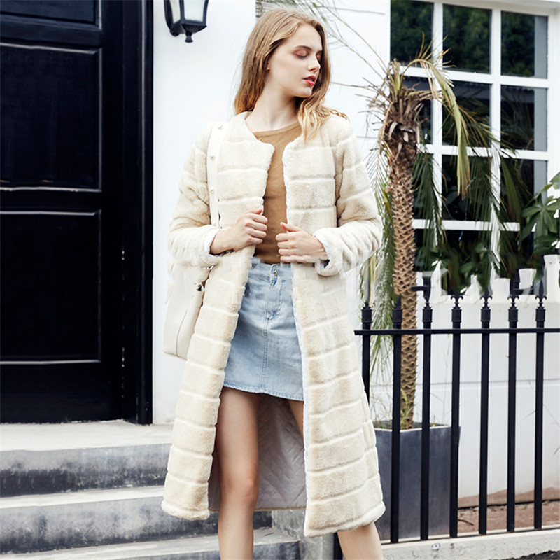 Faux Fur Coat Beige Yellow Plus Size Loose Fur Jacket 2019 New Autumn Winter Fashion Long Sleeve Warmth Clothing Feminina LD1137