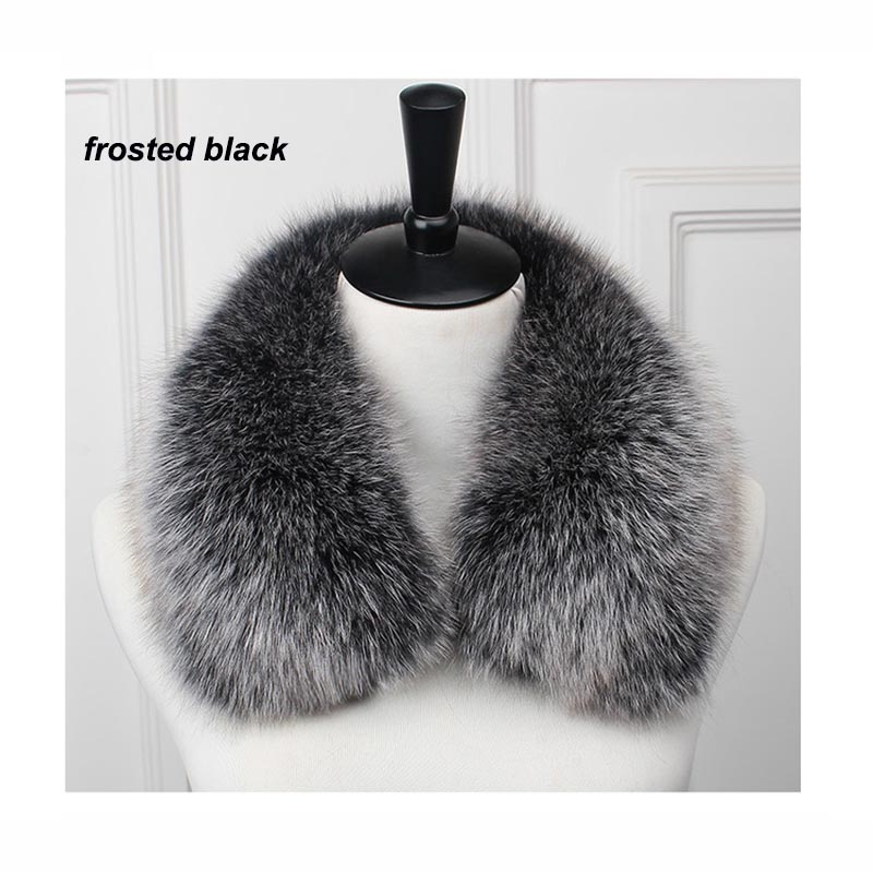 Gratis frakt Real Fox Fur Collar Women 100% Natural Fox Fur Scarf Winter Neck Warmer Jacket Fur Collar Kort stil