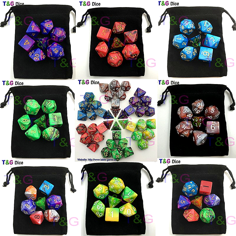 7pcs  Promotion  2-color Dice Set with Nebula effect poker d&d d4,d6,d8,d10,d%,d12,d20 Polyhedral Dice, rpg game dice  with bag