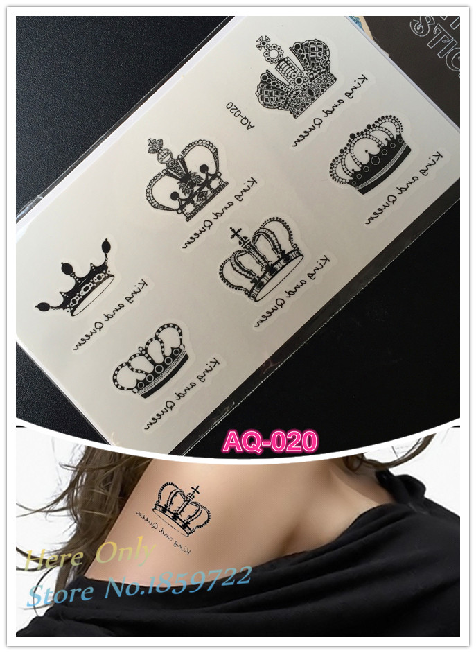 2016 Hot Sale Crown Tattoo Arm Wrist Women tattoo beleza flash body printing tatouages femme homme
