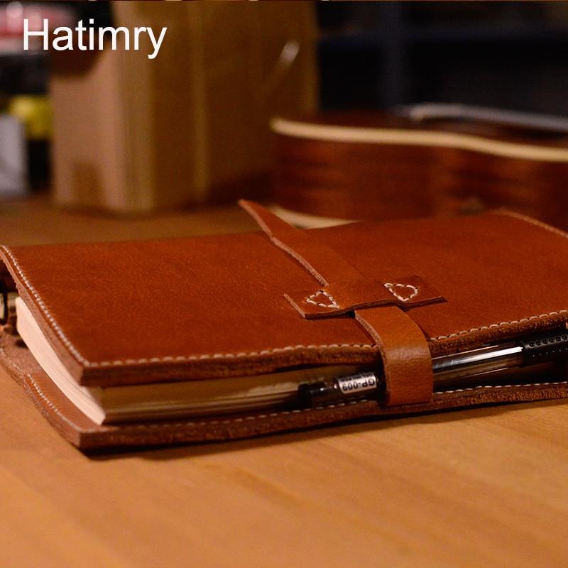 Hatimry A5 cuoio genuino formato A5 notebook per i viaggiatori fatti a mano a punto book scolastici jorunal notebook in pelle - 4