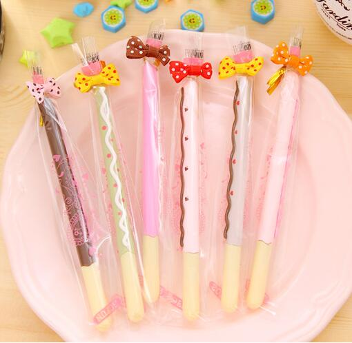 1 Lot=36pcs Korean Stationery Creative Cute Imitation Cartoon Biscuit Gel Pen Roller Unisex