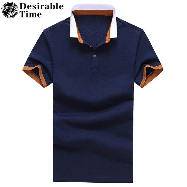 2017 Новое Прибытие Мужчины Лето С Коротким Рукавом Polo Рубашки М-3XL Отложным Воротником Мужчины Синий Хлопок Polo Shirt DT496