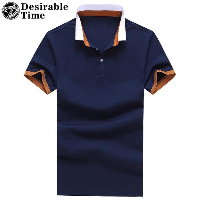 2017 New Arrival Men Summer Short Sleeve Polo Shirts M-3XL Turn-Down Collar Men Blue Cotton Polo Shirt DT496