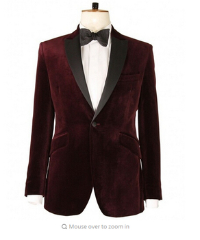 Brand New Groomsmen latest coat pant designs	Groom Tuxedos wine red velvet Men Suits Wedding Best Man Blazer(Jacket+Pants+Tie)