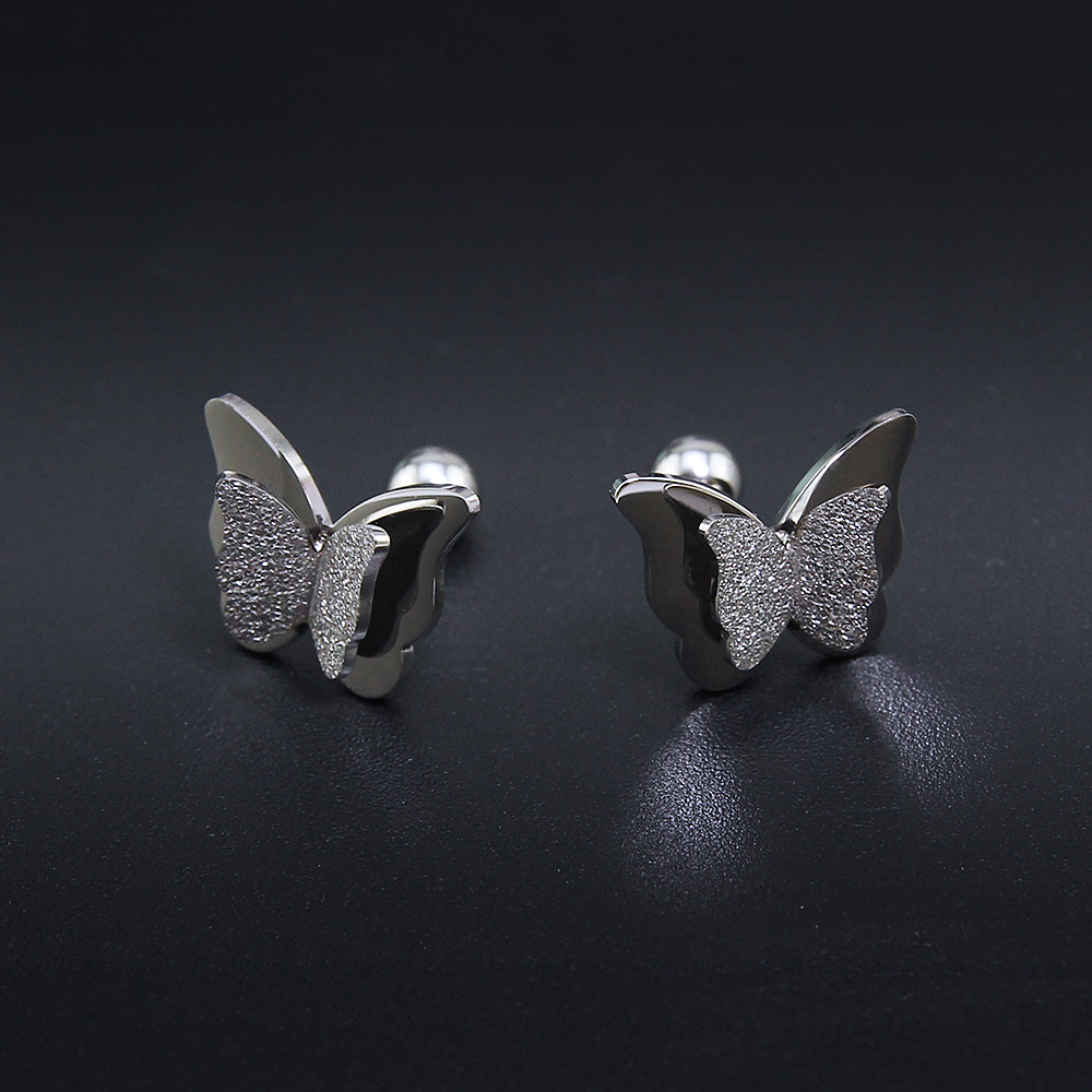 2019 New Butterfly Earrings Rose Gold Color Stainless Steel Stud Earrings for Women Child Frosted Butterfly Cartilage Ear Studs