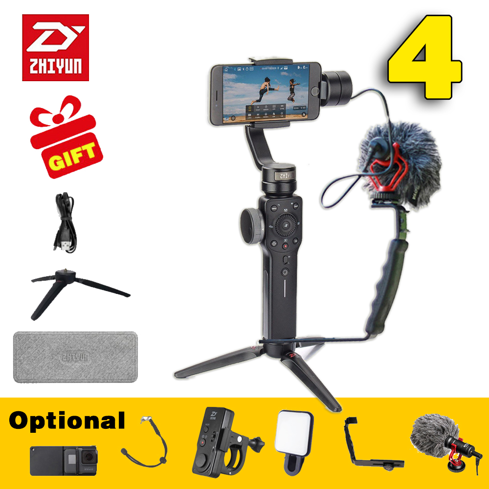 Zhiyun SMOOTH 4 3 Axis Handheld Gimbal Stabilizer for Smartphone action camera phone Portable sjcam cam VS dji osmo feiyu Gopro wewow sport x1 handheld gimbal stabilizer 1 axis for gopro hreo 3 3 4 smartphone iphone 7 plus yi 4k sjcam aee action camera