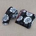 Empate, tecido de lona de impressão a preto e branco de alta qualidade alta-grade masculinos senhoras nova moda gravata estreita correspondência toalha de rosto