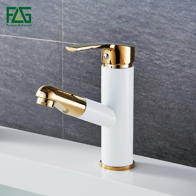 FLG Modern Multi-color Pull Out Bathroom Basin Faucet Single Hole Cold and Hot Water Deck Mounted Tap Basin Faucet Mixer Taps micoe hot and cold water basin faucet mixer single handle single hole modern style main body copper multi function tap m hc204