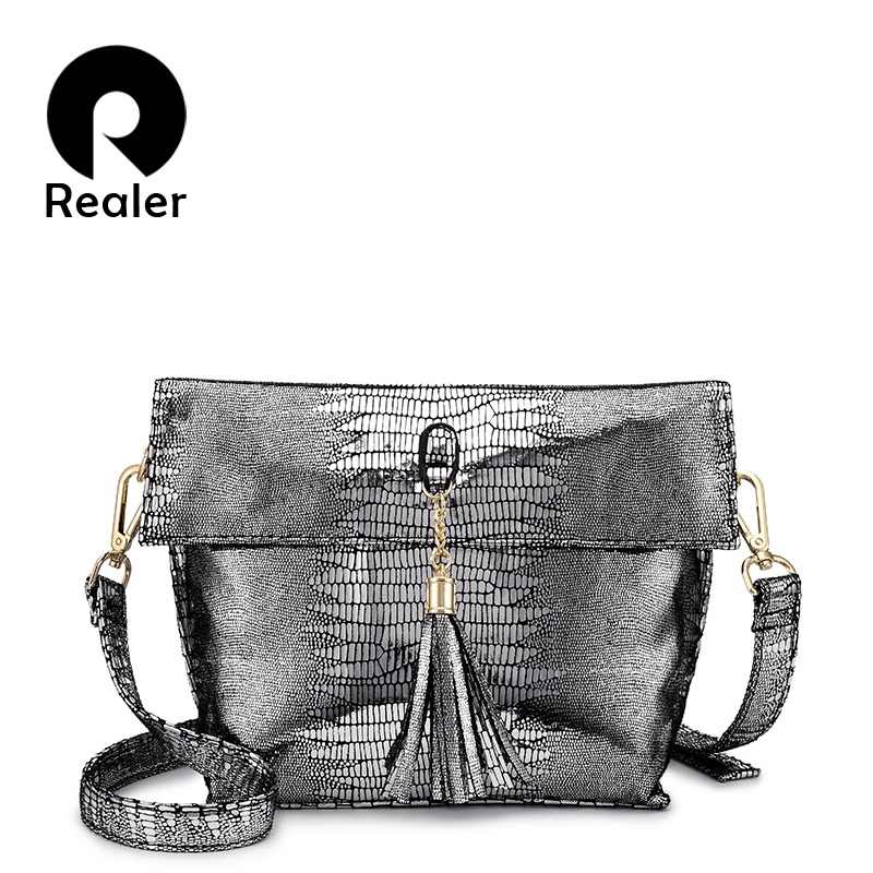 REALER shoulder bag women messenger bags brand summer bag High quality crossbody bags for women tassel artificial leather ladies
