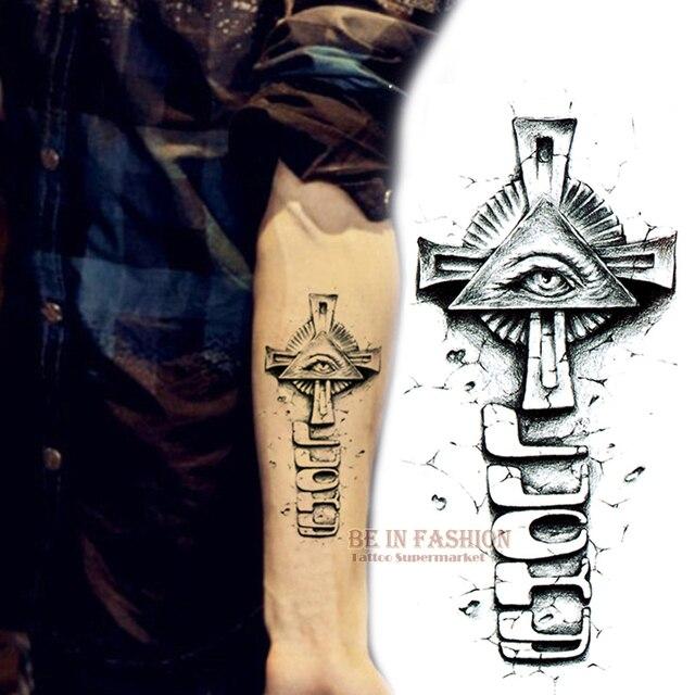 Bahu Lengan Stiker Tato Mata Allah Desain Tahan Air Sementara Tato