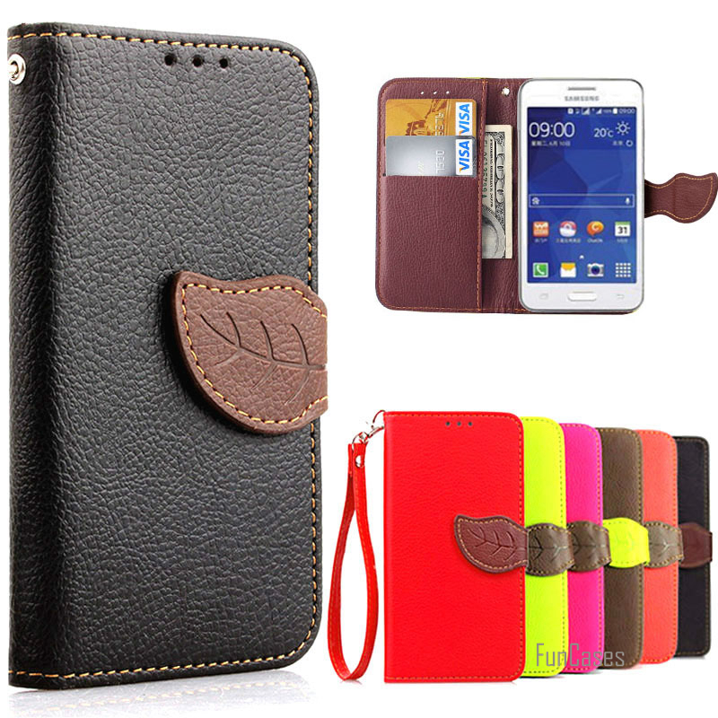 Galleria fotografica Luxury Wallet Leather Case For Samsung Galaxy Core 2 SM G355H SM-G355H Core2 G355 Flip Cover Case With Card Slots Holder Coque (