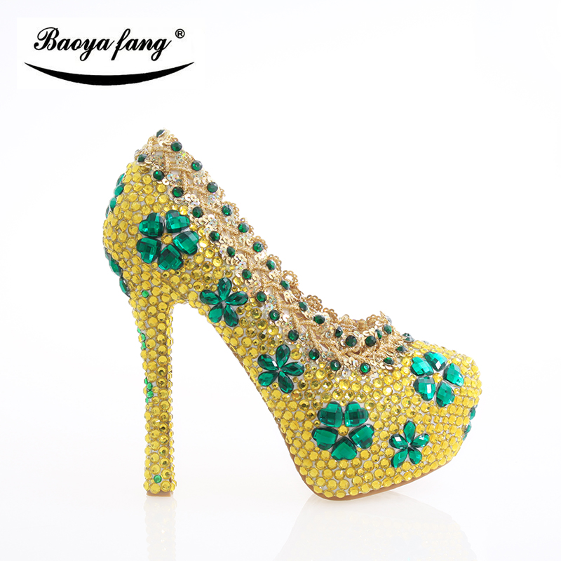 Thin heel New arrival Yellow Crystal Women Wedding shoes Bride Party dress shoes high heels Woman shoes rhinestone handmade shoeThin heel New arrival Yellow Crystal Women Wedding shoes Bride Party dress shoes high heels Woman shoes rhinestone handmade shoe