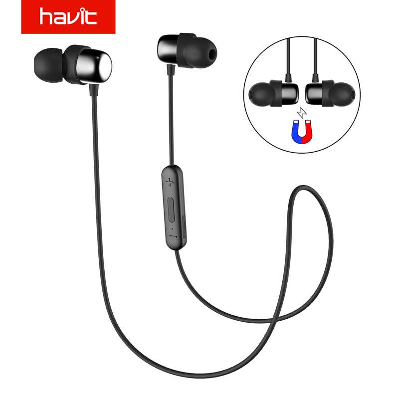 HAVIT Bluetooth Earphone Sport V4.2 IPX5 Sweatproof Magnetic Earplugs In-Ear Earbuds Waterproof Stereo With Microphone I39 newacalox lcd temperature tester digital multimeter ac dc voltage current resistance capacitance measurement tool with battery