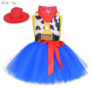 Toy Woody Cowboy Cowgirl Girls Tutu Dress with Hat Scarf Set Outfit Fancy Tulle Girl Birthday Party Dress Kids Halloween Costume(China)