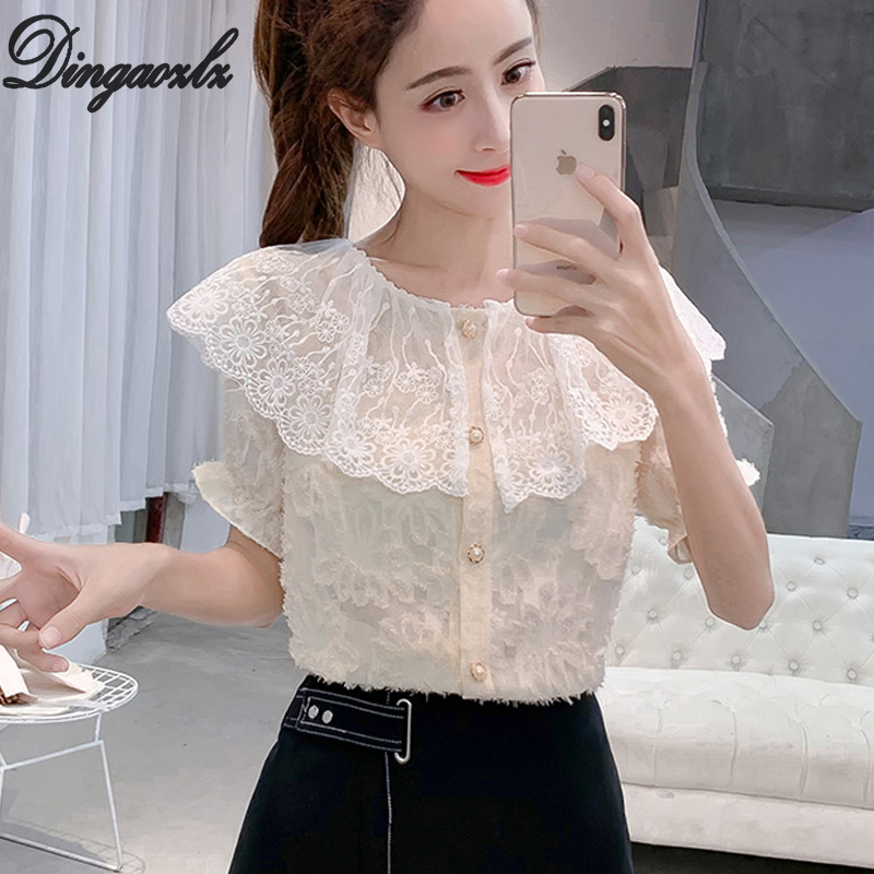 Dingaozlz 2019 Summer lace   blouse   Tops New Sweet Doll Collar Short Sleeve Chiffon   Blouse     shirt   Patchwork Women clothing