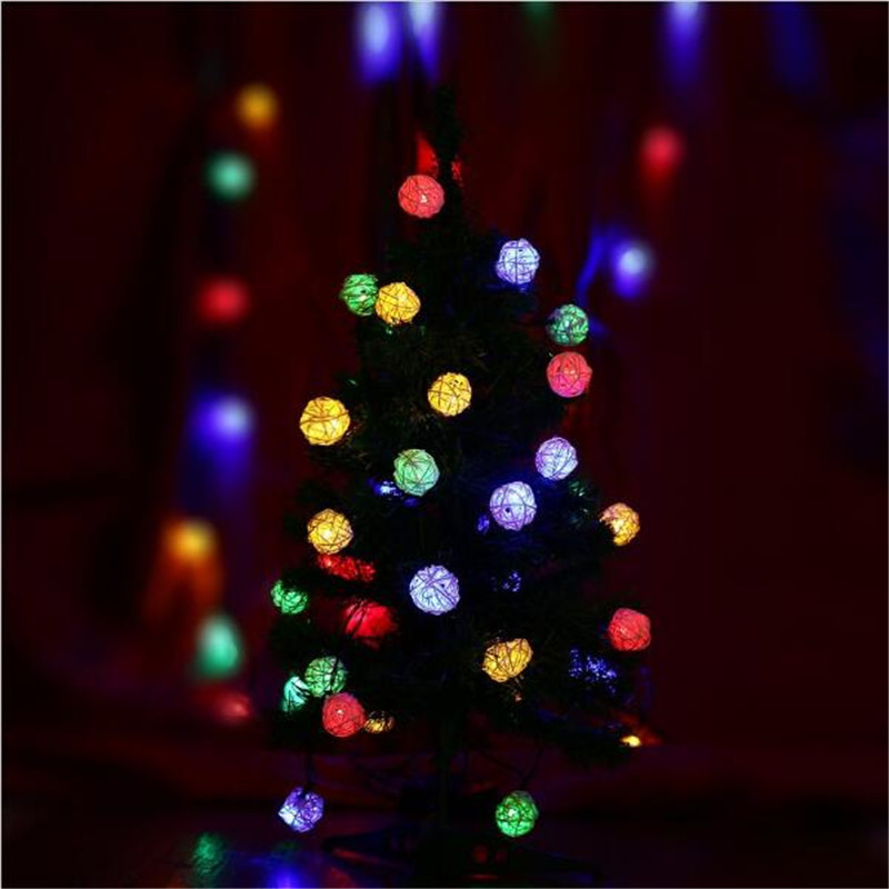 5m 28Led Colorful Rattan Ball String Lights For Christmas Tree Party Decoration Lighting Party Wedding Holiday Light