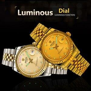 Image 4 - Holuns Men Watches 2019 Luxury Top Brand Gold Diamond Role Quartz Stainless Steel Calendar Relogio Masculino Wrist Watch Clock