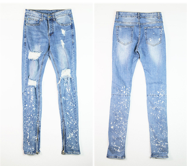 Paint Splatter Distressed Biker Jeans Zipped Ankles Skinny Fit Ripped Holes Stretch Jeans Free Shipping
