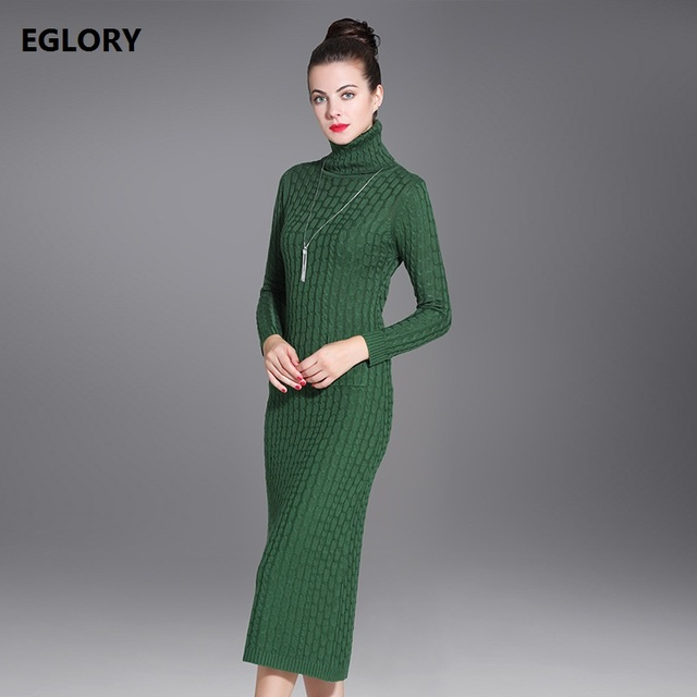 c00d06b274421e New 2018 Autumn Winter Long Sweater Dress Pullovers Women Turtleneck Army  Green Knitted Long Sleeve Casual Knitwear Feminino