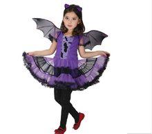 Fancy Masquerade Party Bat Girl Costume Children Cosplay Dance Dress Costumes for Kids Purple Halloween Clothing Lovely Dresses цена в Москве и Питере
