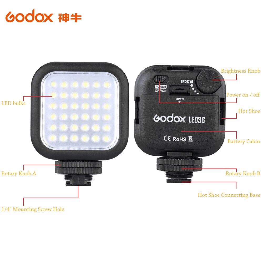 Original Godox LED36 5500 ~ 6500 Karat Led-videoleuchte 36 Led-leuchten Lampe Fotolampen für DSLR Kamera Camcorder mini DVR