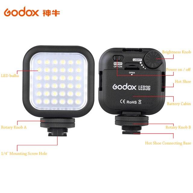 Original Godox LED36 5500~6500K LED Video Light 36 LED Lights Lamp Photographic Lighting for DSLR Camera Camcorder mini DVR