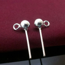 925 sterling silver Stud earrings accessories Round bead ear nail 3mm/4mm