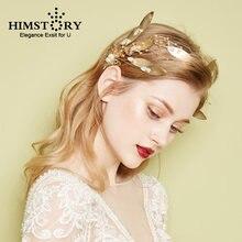 Повязка для волос с золотыми листьями Свадебные короны свадебные