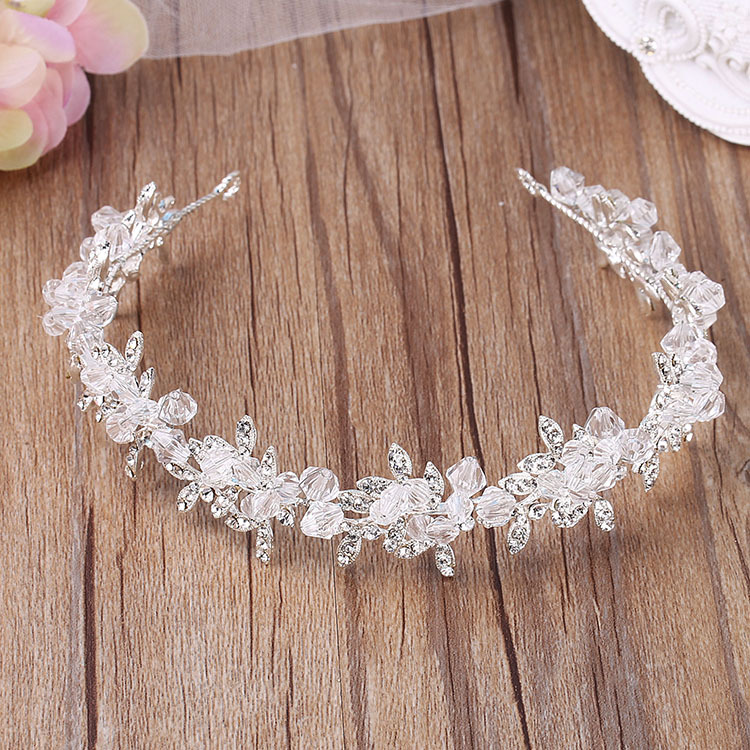 Luxury Silver Crystal Soft Chain Headdress Wedding Hair Accessories Gorgeous Rhinestone Beaded Hairbands Bride Pearl Headpieces