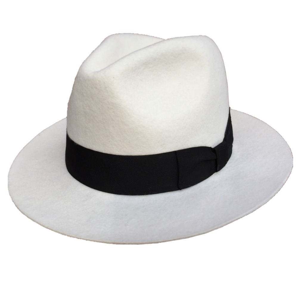 Women Mens Classic Wool Felt White Godfather Gangster -7209