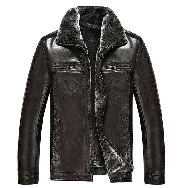 KUYOMENS Autumn and winter men's faux leather jacket men faux fur jackets man plus size men leisure short coats US size S-XXL