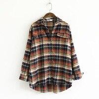 Women Plaid Flannel Shirt Long Sleeved Raw Trim Pocket Button Up Casual Shirts Autumn S M