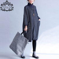 Woman Cotton Dress Plus Size Polka Dot Print Cotton Dresses Loose Casual Turtleneck Female Pullover Fashion