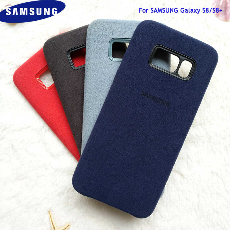 100% Original Brand Samsung Galaxy S8 Plus Suede Leather Case Soft-Touch Back Housing Pintu Penutup untuk Samsung Galaxy s8 + S8 PLUS