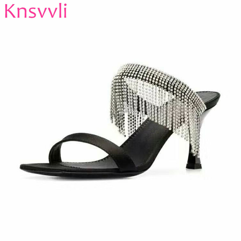 New Rhinestone Fringe High Heels Slippers Woman Black Champagne Color Satin Fashion Party Shoes Ladies Summer