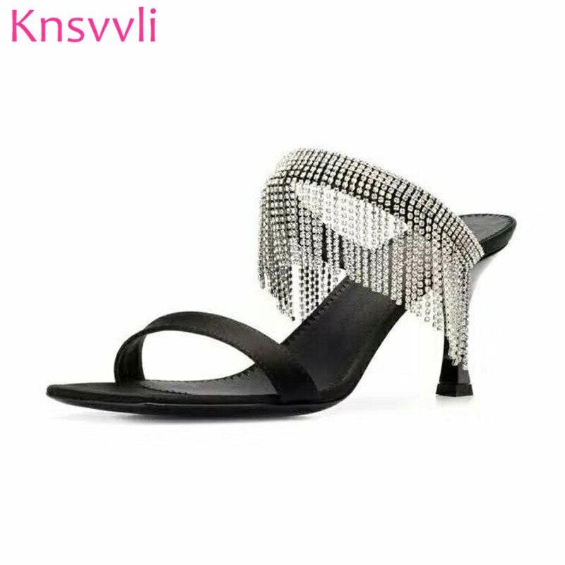 새로운 라인 석 프린지 하이힐 슬리퍼 여자 블랙 샴페인 컬러 새틴 패션 파티 신발 숙녀 여름 여성 뮬 힐-에서슬리퍼부터 신발 의  그룹 1