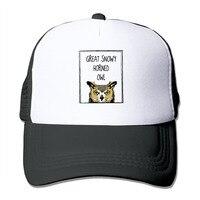 Унисекс Большой снежные сыч Mesh Trucker Hat Snapback Бейсбол Кепки