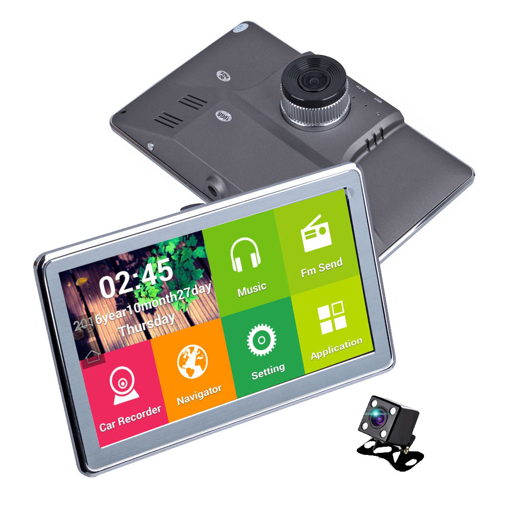 7 wifi car dvr camera gps navigation 16gb rom android 4 4 dual lens full hd