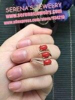 In vendita sconto ragazze regalo regalo di compleanno mamma reale dell'argento sterlina 925 anello rosso corallo naturale 6*4mm * 4 pz per le donne