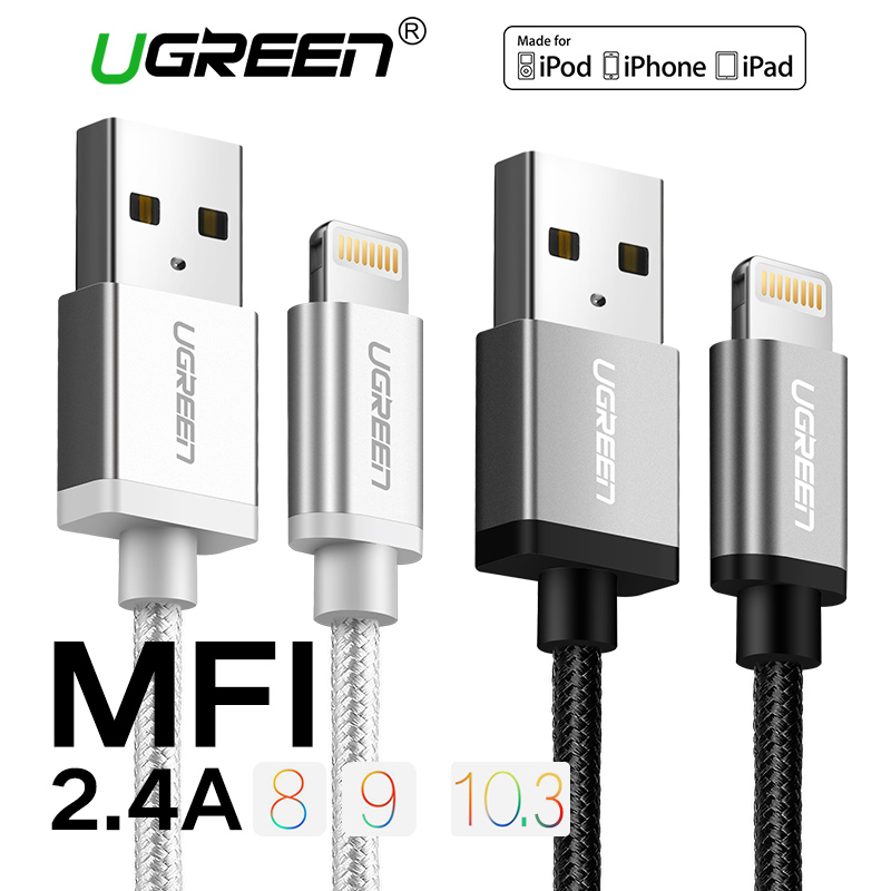 Ugreen Nylon Lightning to USB Cable for iphone 7 2 1AFast Charger USB Data Cable for