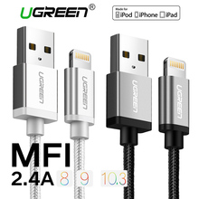 Ugreen Nylon Lightning to USB Cable for iphone 7 2.1AFast Charger USB Data Cable for iPhone 6 5 5s iPad iPod Mobile Phone Cables